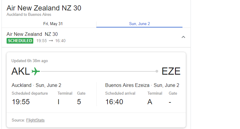 example of flight times from auckland to buenos aires