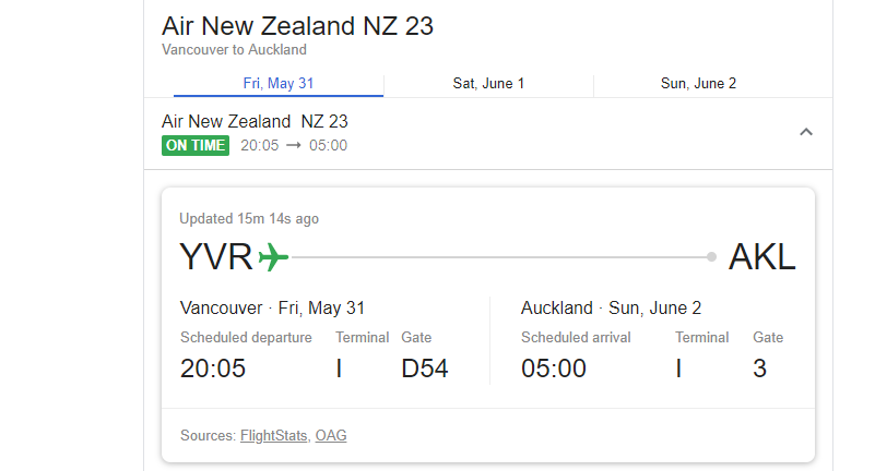 showing the change in time zones for flights leaving vancouver to auckland