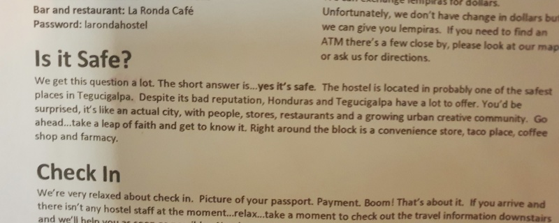 honduras message