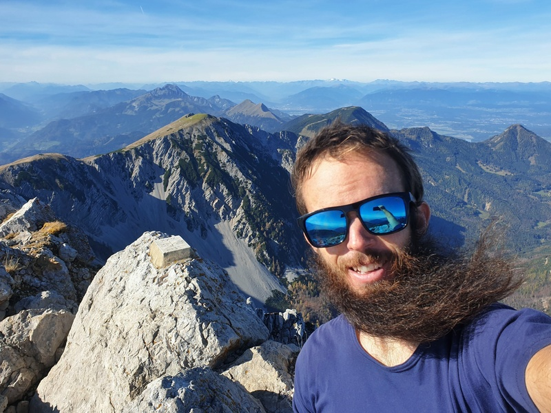 jub taking a selfie with the Julian Alps in the background