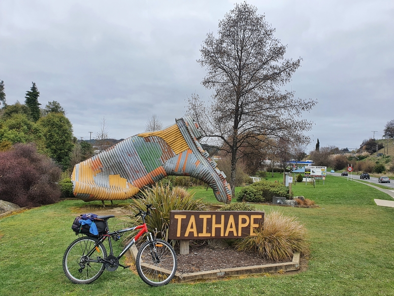 bike in front of the taihape gumboot