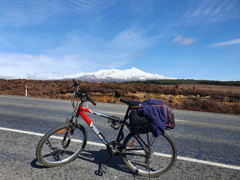 bike on the Desert Road in front of mount ruapehu