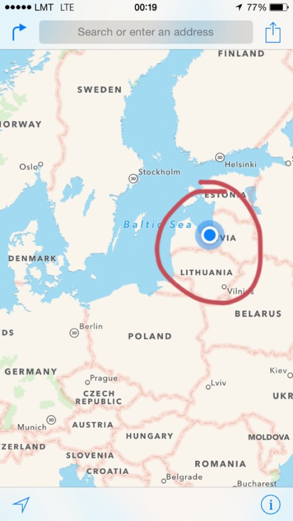 This is where Riga is on a map.