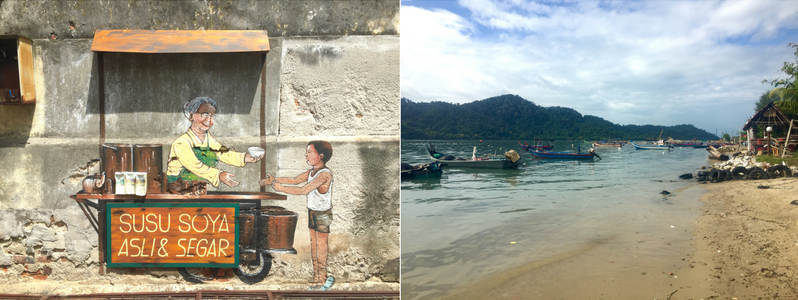 Some street art and beach in penang