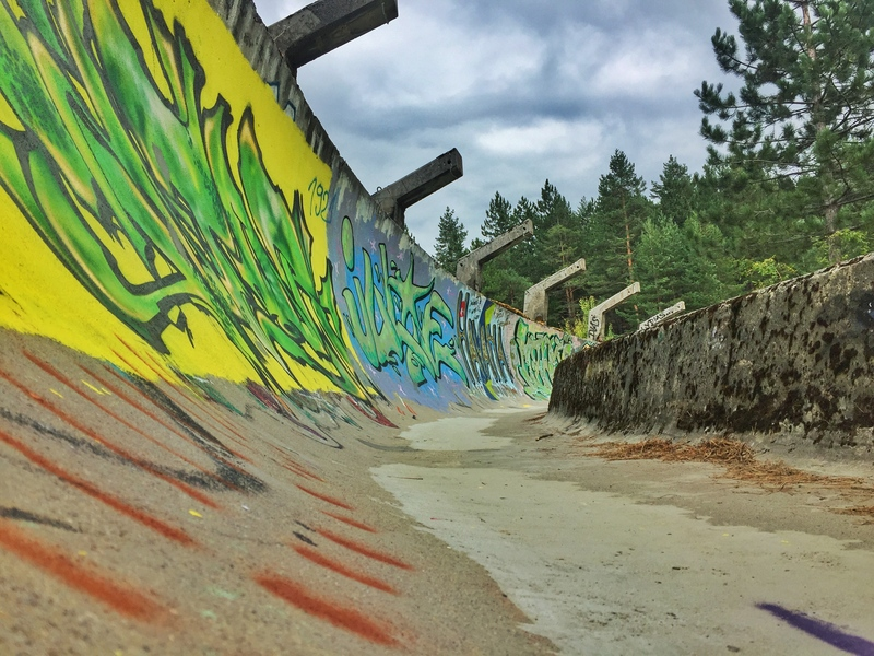 different angle of bobsled track