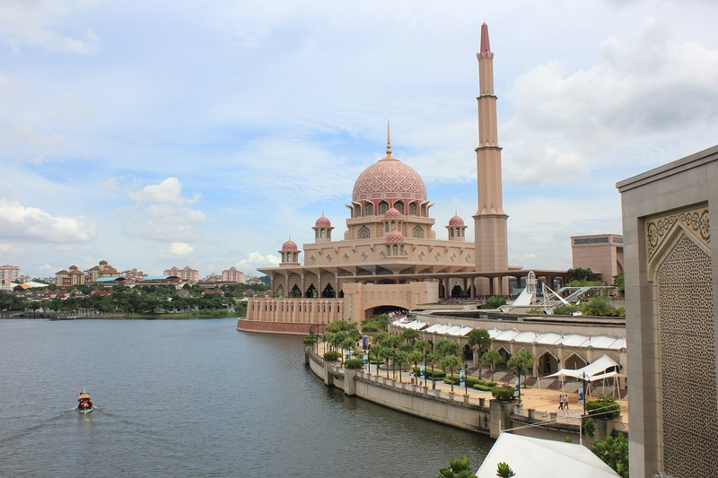 mosque by lake